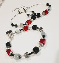 Load image into Gallery viewer, Cube Bracelet Red, Gray & Black