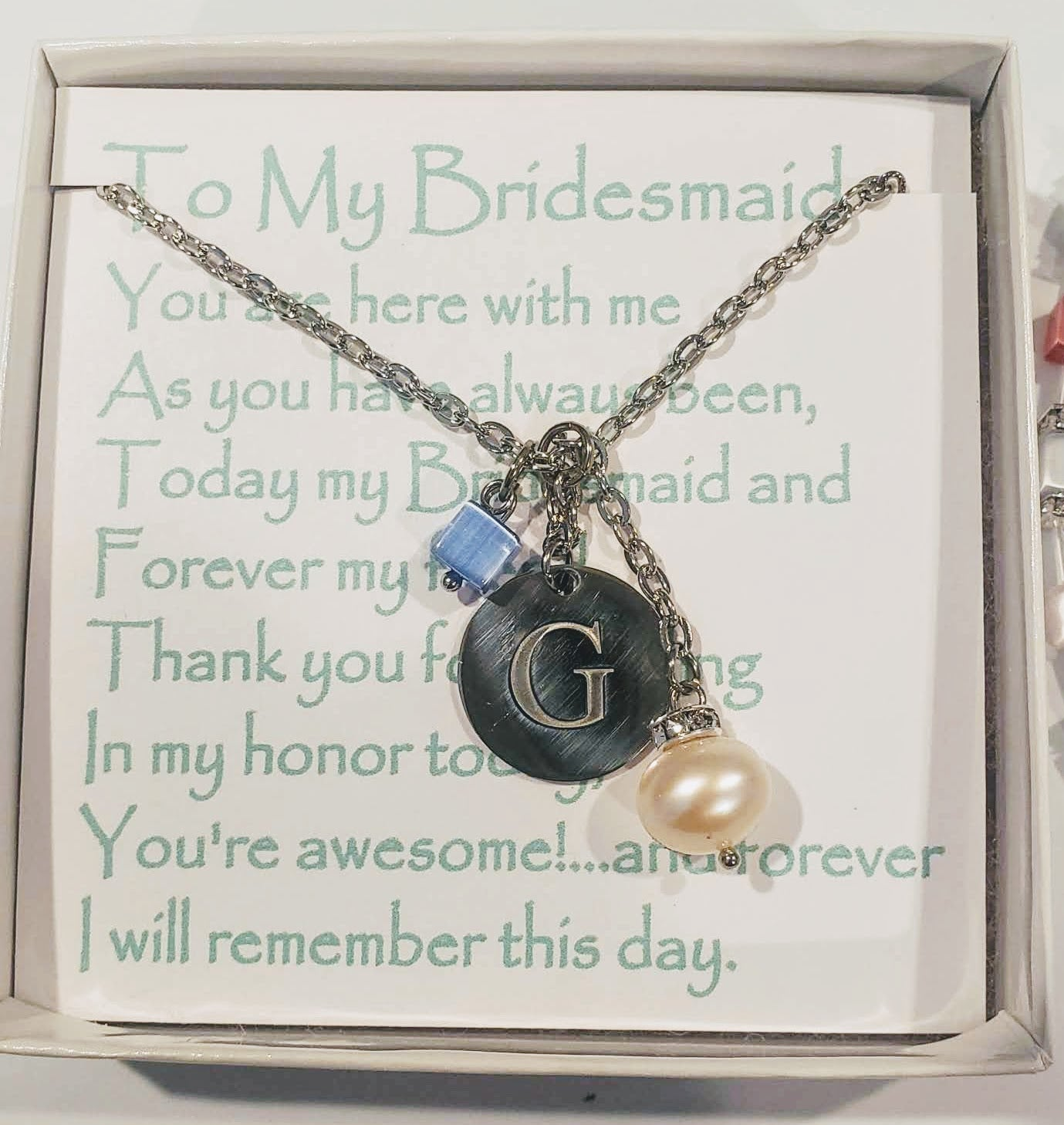 Custom Initial With Pearl & Modern Cube on Chain Necklace