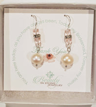 Load image into Gallery viewer, Pearl and Cube Earrings Double Pink