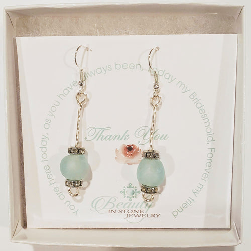 Beach Glass & Crystal Drop Earrings Lt. Blue