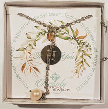 Load image into Gallery viewer, Custom Initial With Pearl & Modern Cube on Chain Necklace