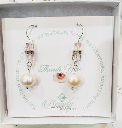 Pearl and Cube Earrings Double Pink - Beauty In Stone Jewelry
