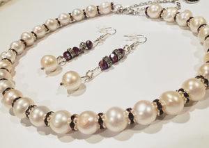 White Pearl With Amethyst or Clear Crystal Necklace