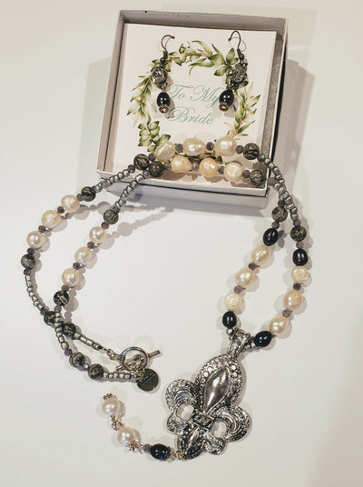 Pearl & Beaded Necklace Fleur De Lis Pendant - Beauty In Stone Jewelry