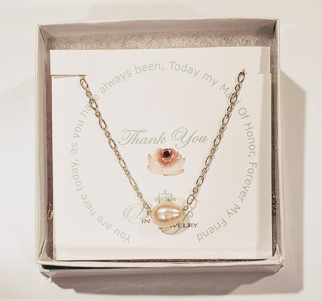 Genuine Single Blush Pearl On Silver Chain Necklace