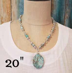 Blue Oval Gemstone Beaded Necklace