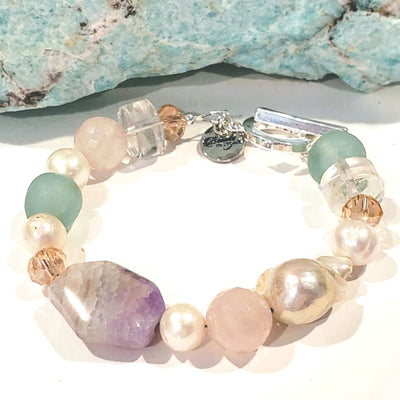 Freshwater Pearl, Gemstone And Quartz Bracelet - Beauty In Stone Jewelry