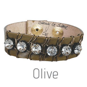 10 Colors Rhinestone Leather Cuff