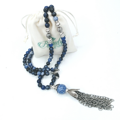 Sodalite Beaded Necklace With Chain Tassel - Beauty In Stone Jewelry