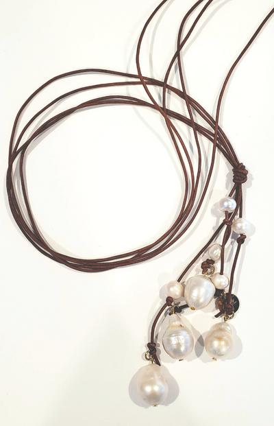 Luxe Cascading Pearls On Leather - Beauty In Stone Jewelry