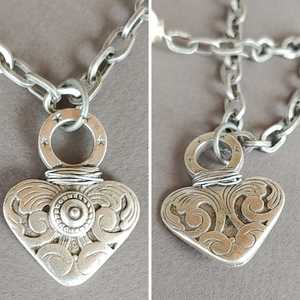 Dramatic Heart Necklace With Matte Silver Chain