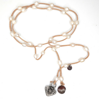 Valentine Pearl Lariat - Beauty In Stone Jewelry
