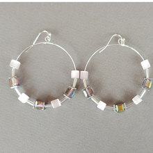 Load image into Gallery viewer, Cube Hoop Earrings Pink Mix