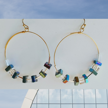 Load image into Gallery viewer, Cube Hoop Earrings Blue/Green Iridescent Metals