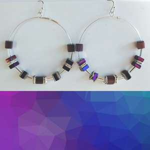 Cube Hoop Earrings Purple Mix
