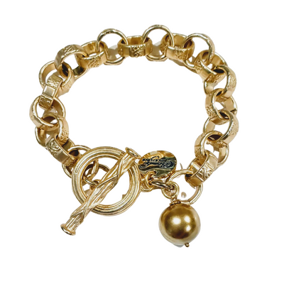 Chain Link Bracelet With Gold Pearl - Beauty In Stone Jewelry