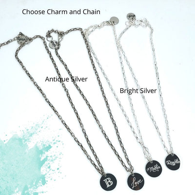 Engraved Charm Necklace on Oval Chain - Beauty In Stone Jewelry