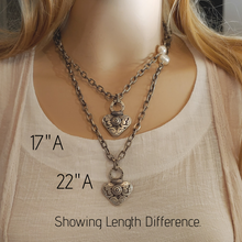 Load image into Gallery viewer, Dramatic Heart Necklace With Matte Silver Chain