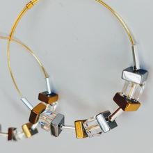 Load image into Gallery viewer, Cube Hoop Earrings Bronze & Silver Shiny Metals