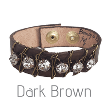 Load image into Gallery viewer, 10 Colors Rhinestone Leather Cuff