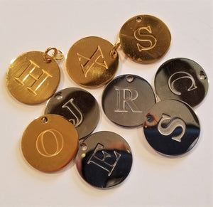Engraved Initial Charm Stainless Steel