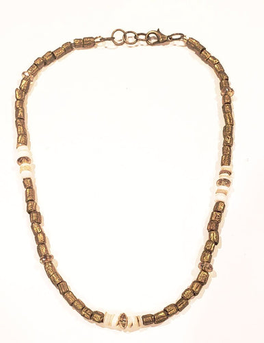 African beaded necklace gold