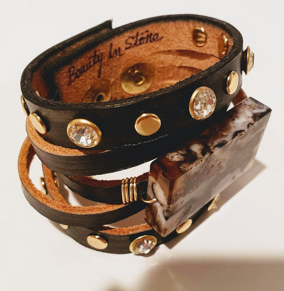Leather Cuff With Stone & Studs - Beauty In Stone Jewelry
