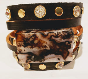 Black Leather Cuff With Stone & Studs