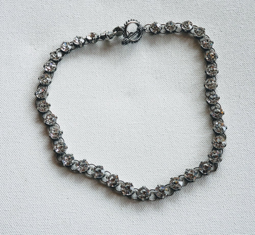 Chain Necklace With Rhinestone All Around Antique silver
