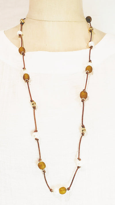 Amber Beach Glass & Pearl Leather Necklace - Beauty In Stone Jewelry