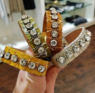10 Colors Rhinestone Leather Cuff - Beauty In Stone Jewelry