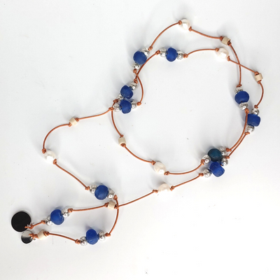 Beach Glass & Pearl Lariat Necklace Dark Blue - Beauty In Stone Jewelry