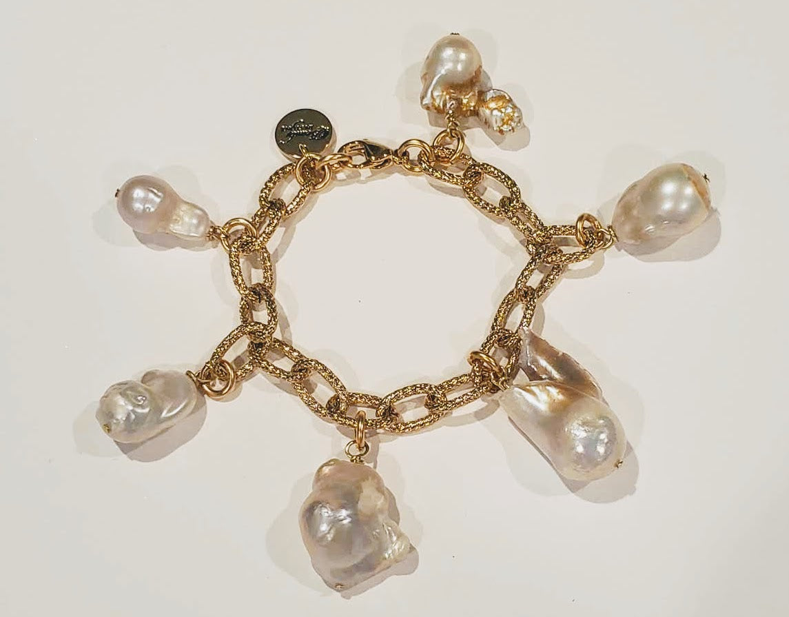 Chain Link Bracelet Gold With Pearls