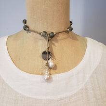 Load image into Gallery viewer, Gray Beach Glass Necklace With Pearl Tassel