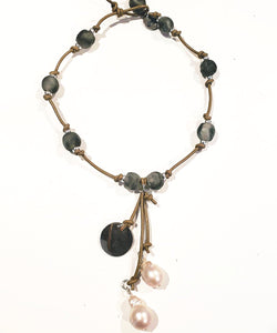 Gray Beach Glass Necklace With Pearl Tassel
