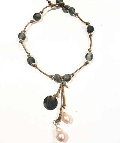 Gray Beach Glass Necklace With Pearl Tassel - Beauty In Stone Jewelry