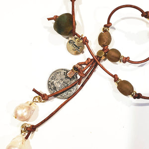 Brown Beach Glass Necklace With Pearl Tassel