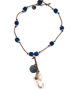 Cobalt Navy Blue Beach Glass Necklace With Pearl Tassel