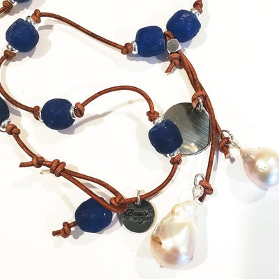 Cobalt Navy Blue Beach Glass Necklace With Pearl Tassel - Beauty In Stone Jewelry