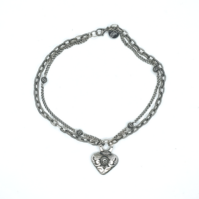 Cast Heart Necklace With Double Chain - Beauty In Stone Jewelry