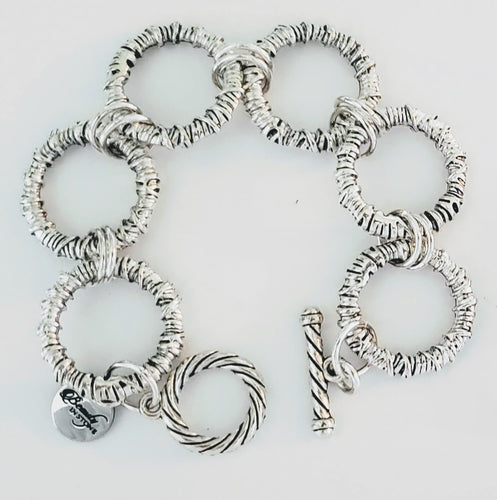 Chunky big link chain bracelet silver with toggle
