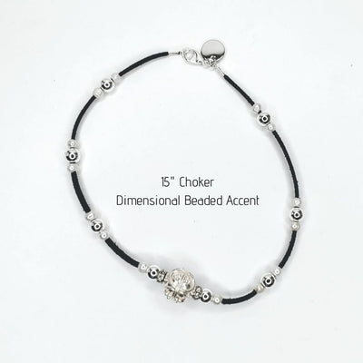 Dimensional Silver Beaded Choker - Beauty In Stone Jewelry