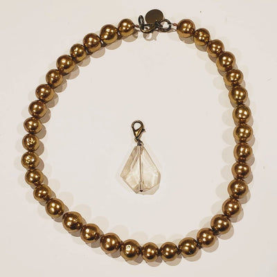 Gold Pearl Necklace Detachable Quartz Pendant - Beauty In Stone Jewelry