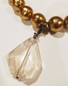 Gold Pearl Necklace Detachable Quartz Pendant