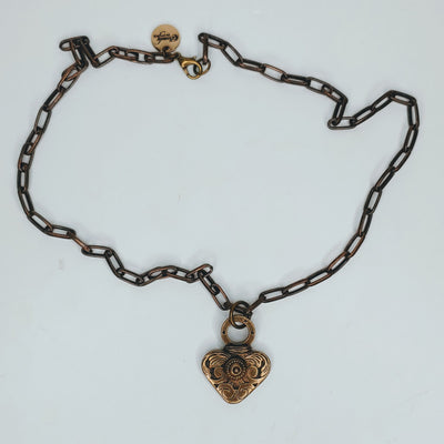 Chain Necklace With Heart Antique Bronze - Beauty In Stone Jewelry