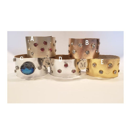 Shimmery Metallic Leather Cuff Personalize Option