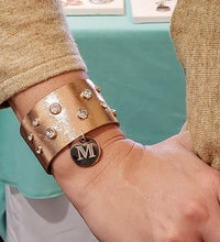 Load image into Gallery viewer, Shimmery Metallic Leather Cuff Personalize Option