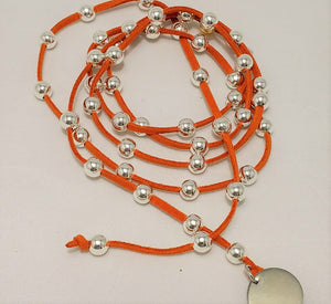 Silver Beaded Lariat on Suede Leather