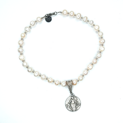 Pearl Necklace With Liberte Coin - Beauty In Stone Jewelry