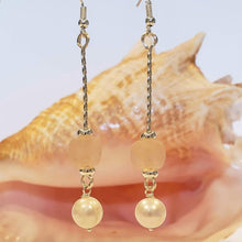 Load image into Gallery viewer, Beach Glass & Pearl Drop Earrings Pink